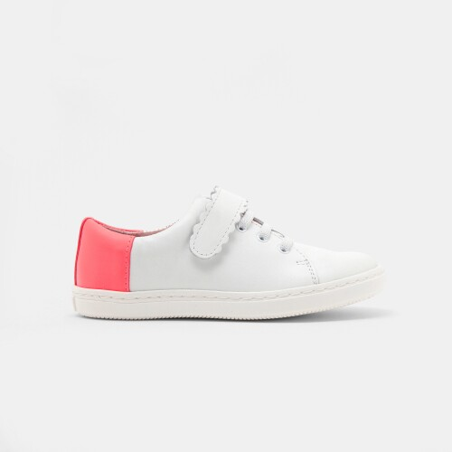 Sneakers din piele netedă pentru fete