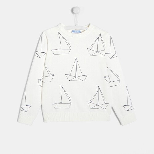 Pulover cu motiv barca baieti