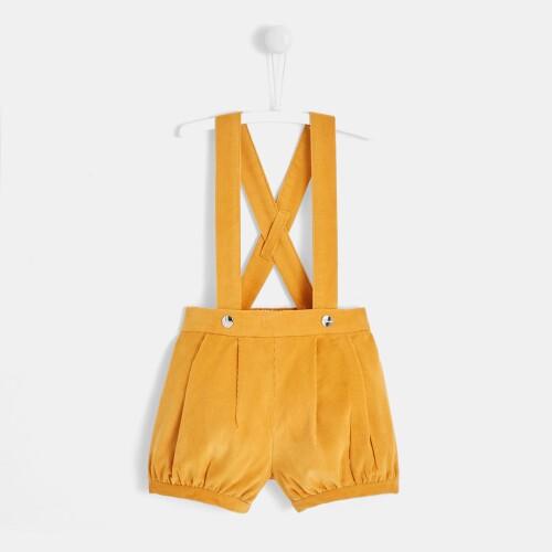 Toddler girl crossed suspender shorts