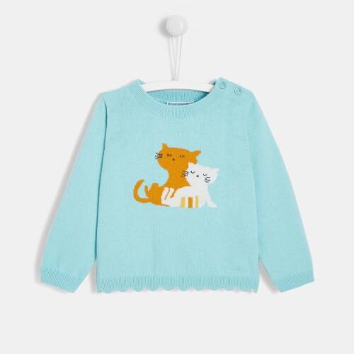 Toddler girl little cats sweater
