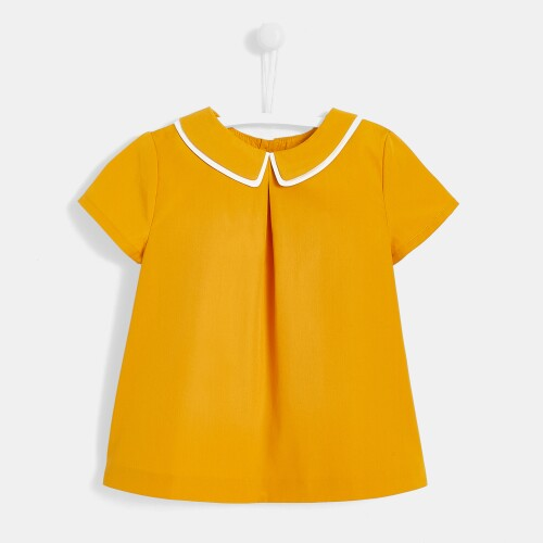 Girl blouse with double collar