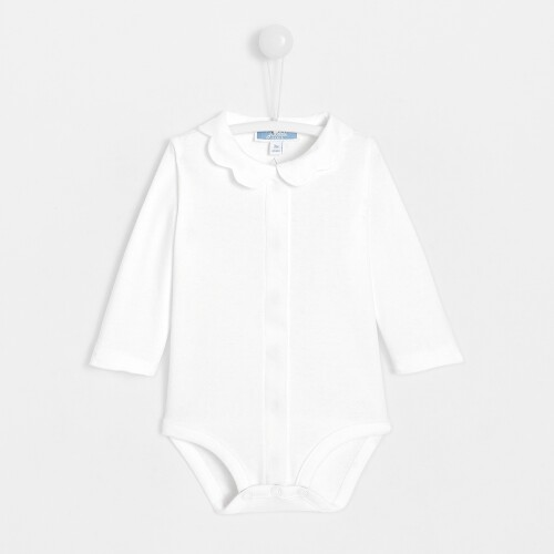 Baby girl bodysuit with scalloped collar