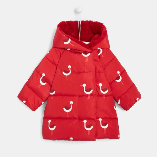 Toddler girl stork print puffer jacket