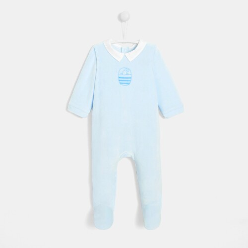 Baby boy velvet footed pajamas