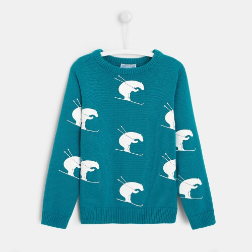 Boy bear print sweater
