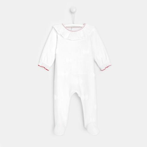 Baby girl loop velvet footed pajamas
