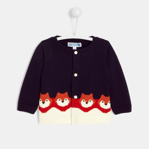 Baby boy little foxes cardigan