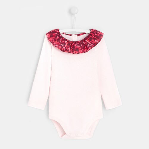Toddler girl bodysuit with frilled collar