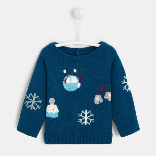 Baby boy playful patterned sweater