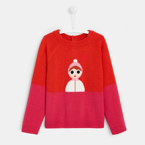 Girl color block sweater