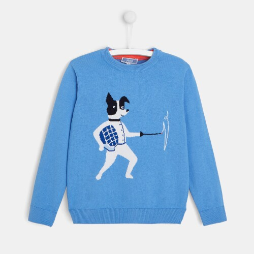 Boy Intarsia sweater with fencer intarsia