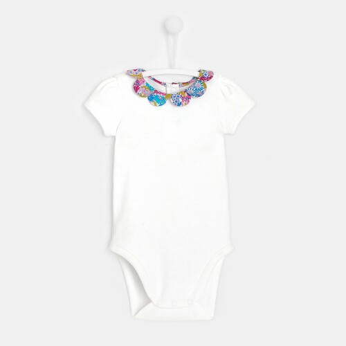 Baby girl bodysuit with Liberty print collar