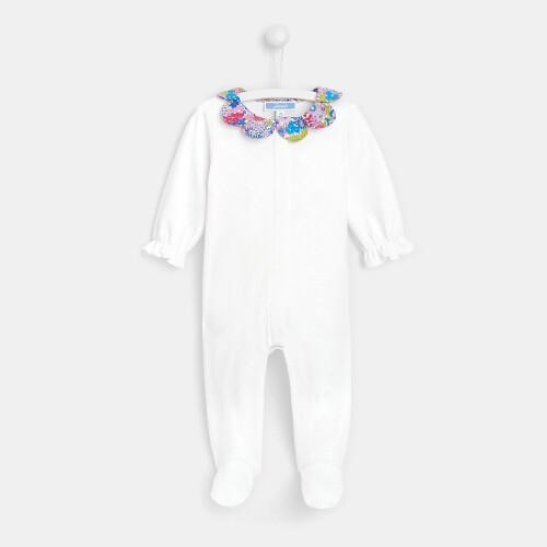 Baby girl footed pajamas with Liberty print collar