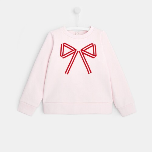 Girl fleece sweatshirt with bow