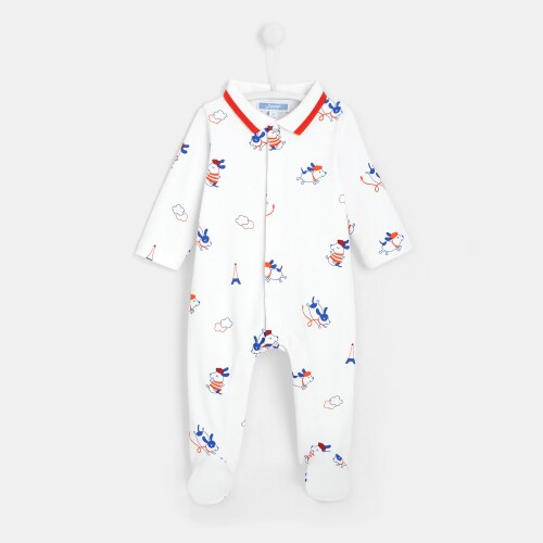 Baby boy printed footed pajamas